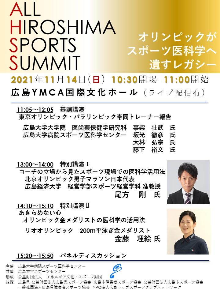 【2021/11/14開催・要申込】ALL HIROSHIMA SPORTS SUMMITを開催します
